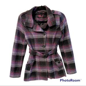Say What? Plaid wool blend Pea Coat size small